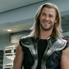 Thor smiles.