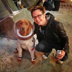 Fred the dog and James Gunn