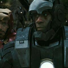 Rhodes fighting alongside Tony.