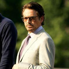 Robert Downey Jr. on set as Tony Stark.