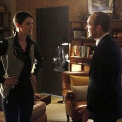 Maria Hill and Phil Coulson talking.