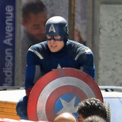 Chris Evans on set in costume.