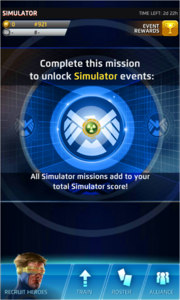 The Simulator Event Screen