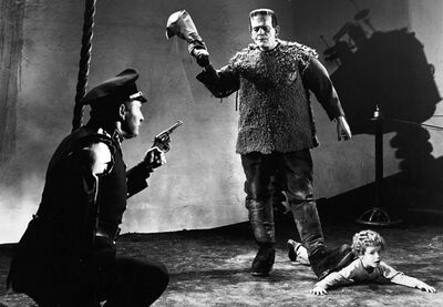Son-of-frankenstein-ending-scene-krogh-one-armed-man-monster-lionel-atwill-boris-karloff-donnie-dunagan