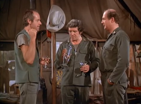 MASH episode 6x22 - Roy DuPree tries out the Still with BJ and Charles