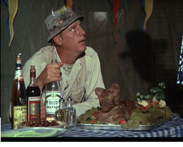 File:Henry drunk at Greek feast MASH Episode 3x14.jpg