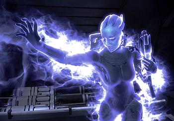 Die markante blaue Aura der schwarzen Energie