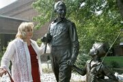 Betty Lynn with Statues 2011
