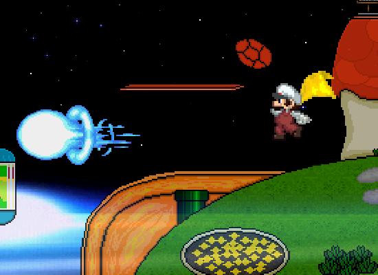 File:Fire Mario returning Mega man mega buster.png