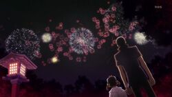 Nanako and Yu watching firework together