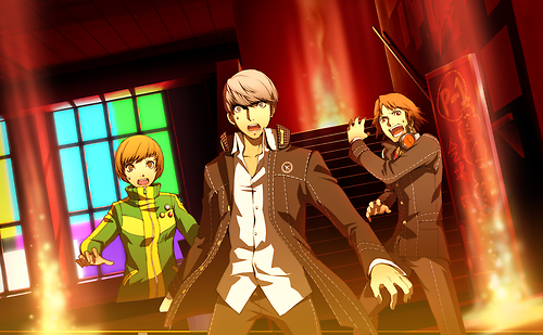 File:P4AU (Adachi DLC Episode, Yu, Yosuke and Chie are unexpecting encountering Adachi).png