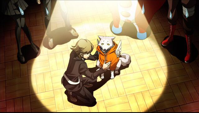 File:P4AU P4 Shadow Ken and Koromaru innocent look.jpg
