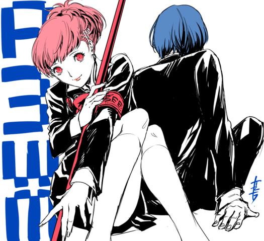 File:P3WM Illustration of Male and Female Protagonist by Rokuro Saito.png