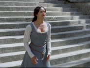 Guinevere in blue dress