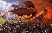 The battle between red and white dragon