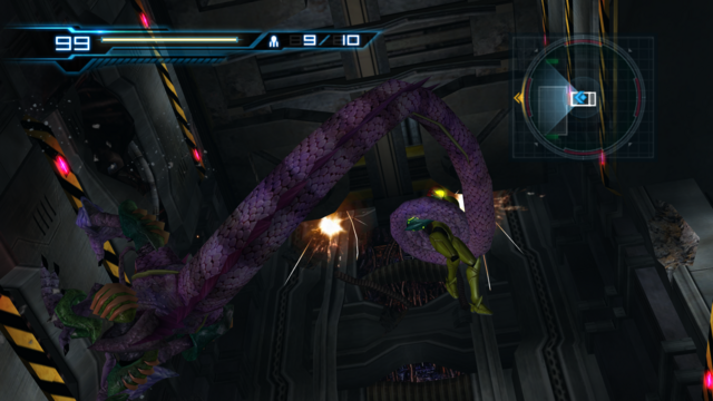 File:MOM Samus and Ghalmanian under falling elevator.png