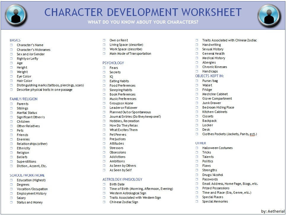 Character Design Questions : Image character development worksheet g millard high