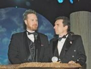Dan and Swampy accept an award