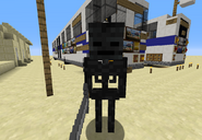 A Wither Skeleton next to a New Flyer D60