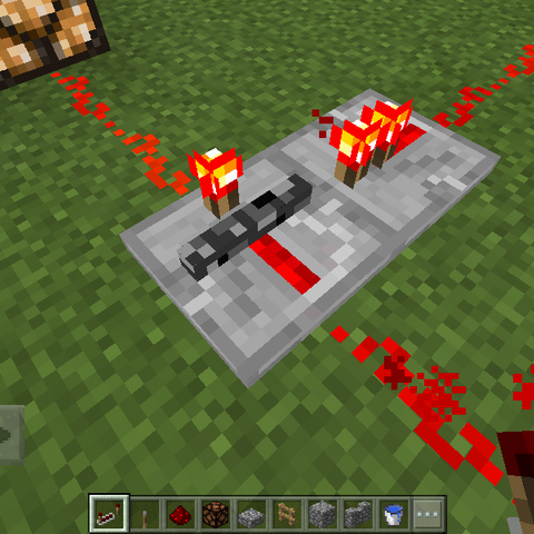 An activated Locked Redstone Repeater.