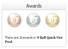 9 Ball Quick Fire Pool Awards Section