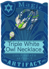 Triple White Owl Necklace