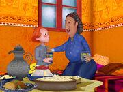 Ouma, la grand-mère de Cheb, a invité Gudule à prendre le thé.