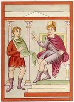 Evangeliar München 780-850, Herodes Befehl, trachtenkunstwer01hefn Taf.012e