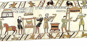 Bayeux Tapestry - Meat is being cooked. The servants have served.jpg