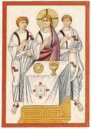Evangeliar München 780-850, Hl. Abendmahl, trachtenkunstwer01hefn Taf.012c