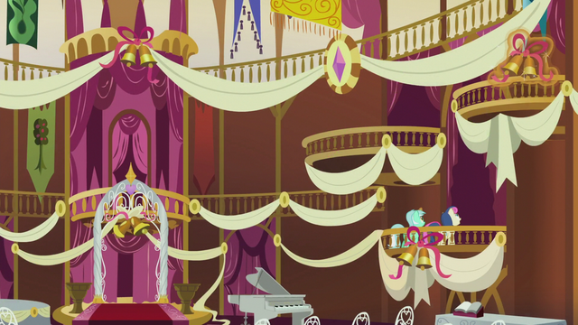 File:Lyra and Bon Bon decorating town hall S5E9.png