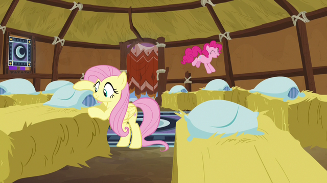 File:Fluttershy and Pinkie Pie making yak beds S7E11.png