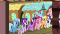 Mane Six, Starlight, Trixie, and Spike at the train station S7E2.png