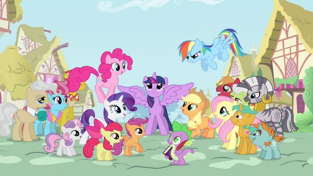 File:Supporting characters gather around Twilight S4 opening.png
