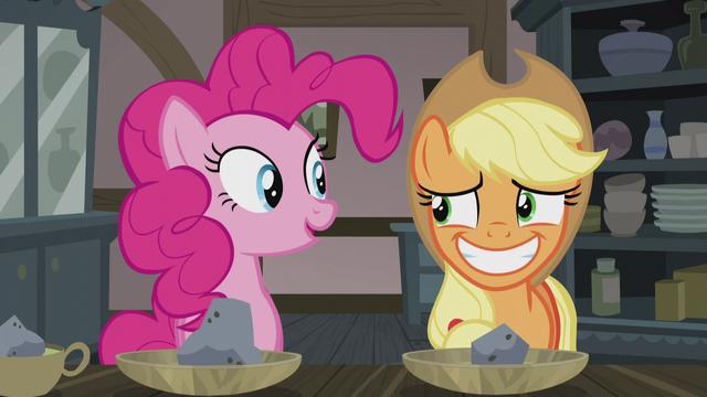 File:Applejack smiling nervously at Pinkie S5E20.png