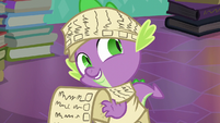 Spike looks and smiles at Sunburst and Starlight S6E2