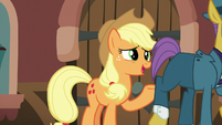 Applejack tries talking to passing businesspony S5E16