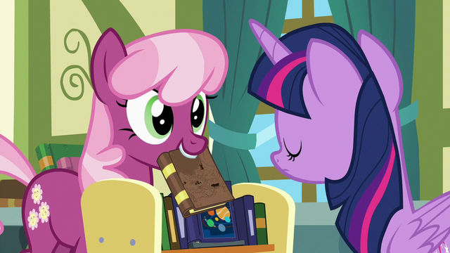 File:Cheerilee holds up another book; Twilight shakes her head S7E3.png