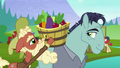 McColt stallion helps Hooffield stallion with fruit baskey S5E23.png