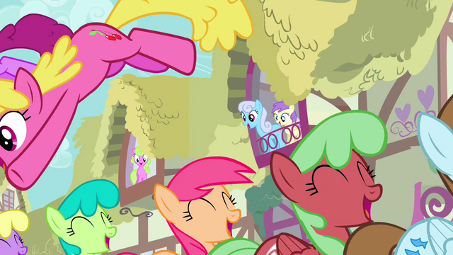 File:Ponies march happily through Ponyville S3E13.png