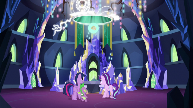 File:Twilight, Spike, and Starlight sees scroll being pulled by the portal S5E26.png