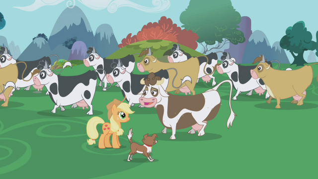 Applejack talking to Daisy Jo the cow, screenshot from S1 E4