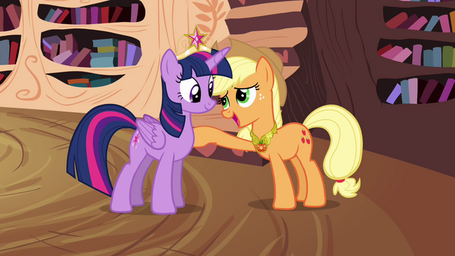 "File:Twilight and Applejack ""connected by the Elements"" S4E01.png"