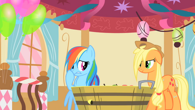 File:Applejack chuckling at Rainbow Dash's find S1E25.png