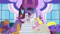 Canterlot ponies racing into the boutique S5E14.png