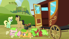 Three fillies come out from the carriage S3E08.png