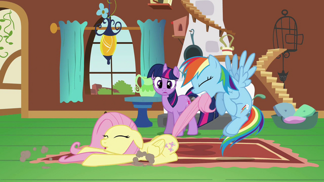 File:Rainbow Dash dragging Fluttershy S2E21.png