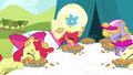 Apple Bloom and Orchard Blossom eating pies S5E17.png