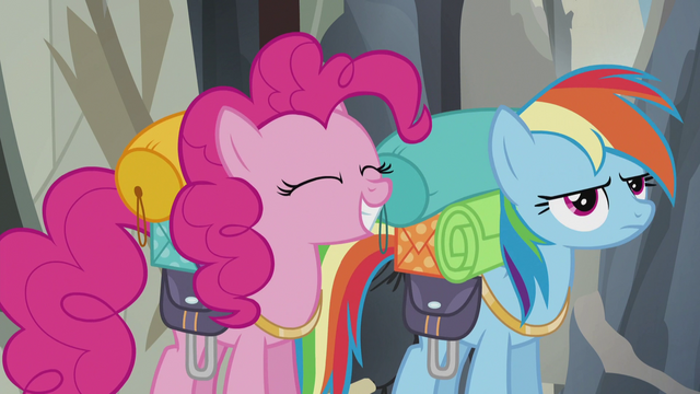 File:Pinkie smiles and Rainbow unhappy S5E8.png