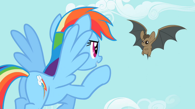 File:Rainbow Dash pointing at the bat 2 S2E07.png